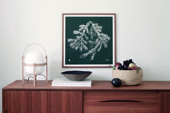 Forest green & white spruce branch square wall decor with wooden frame