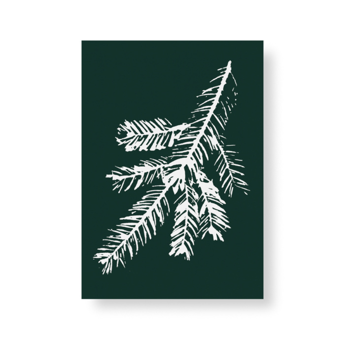 Dark green & white Spruce mini poster
