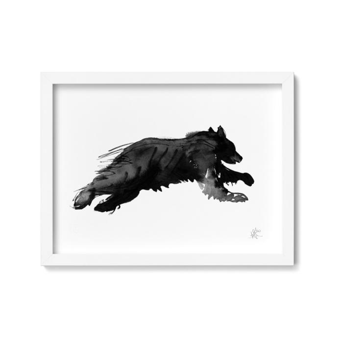 Bear on the run framed wall art