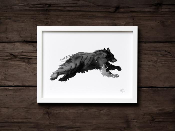 Bear on the run fine art print