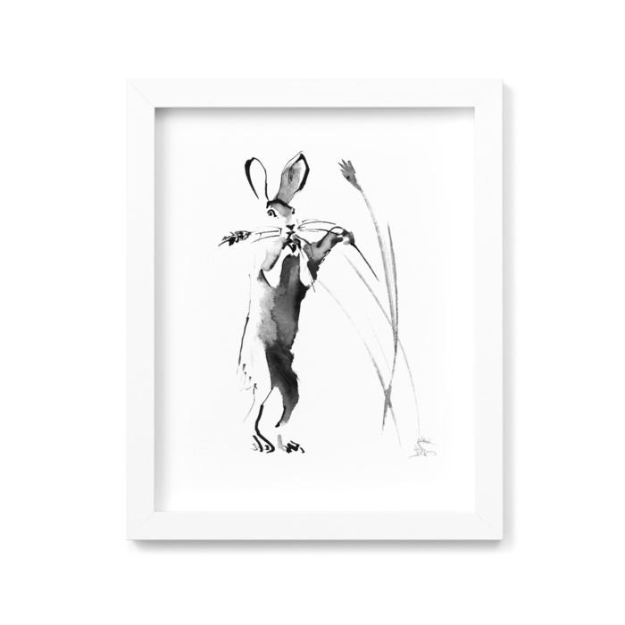 Hare in harvest time fine art print